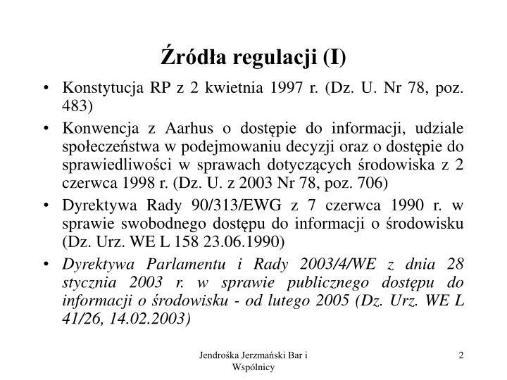 Źródła regulacji