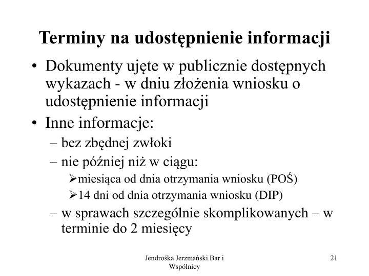 Terminy na udostępnienie informacji