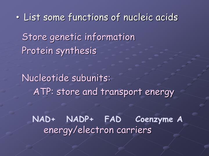 Store genetic information