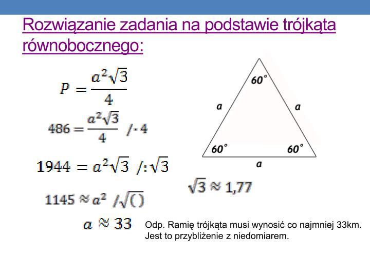 Rozwiązanie zadania na podstawie trójkąta równobocznego: