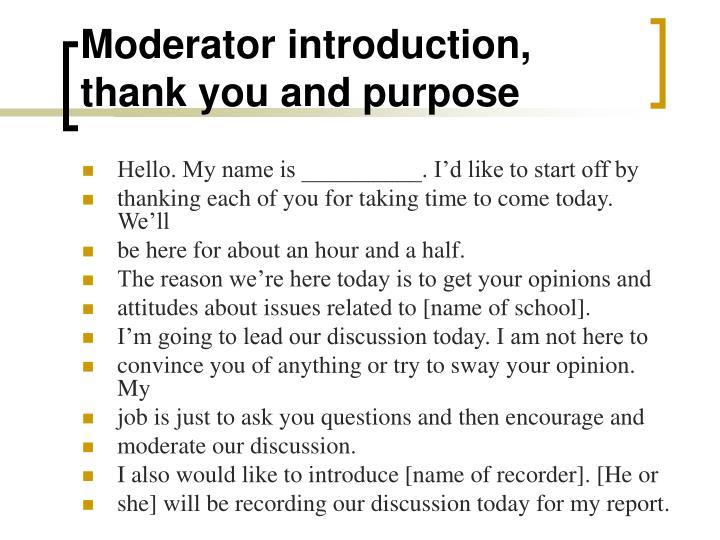 Moderator introduction,