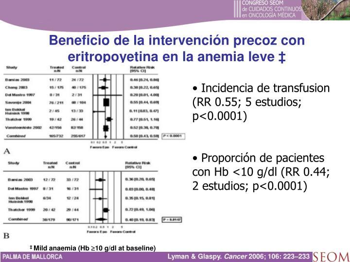 Beneficio de la intervención precoz con eritropoyetina en la anemia leve