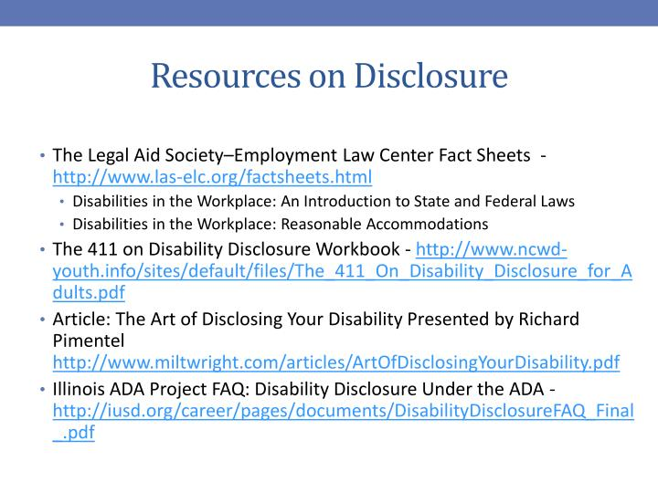 Resources on Disclosure