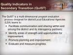 quality indicators in secondary transition quist