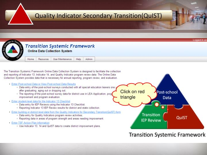 Quality Indicator Secondary Transition(QuIST)