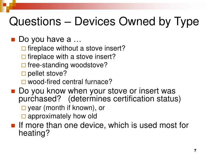 Questions – Devices Owned by Type