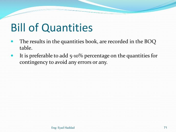 Bill of Quantities