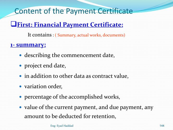 Content of the Payment Certificate