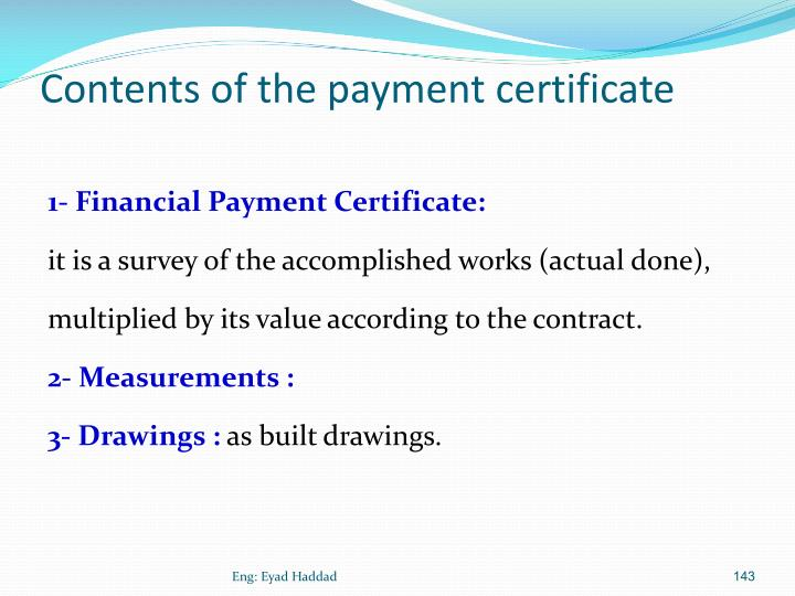 Contents of the payment certificate