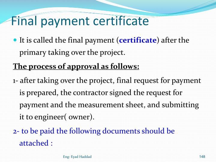 Final payment certificate