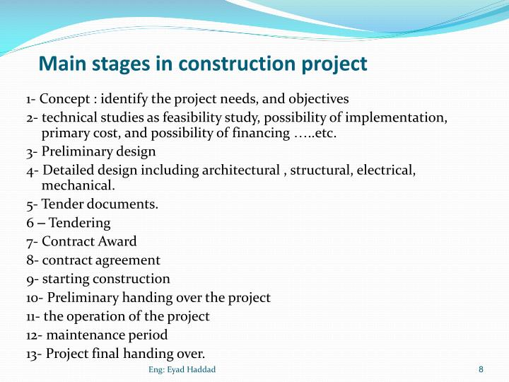 Main stages in construction project
