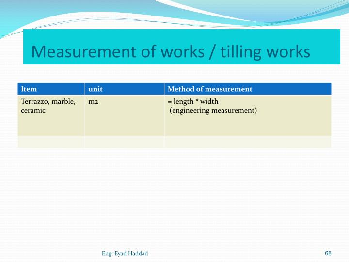Measurement of works / tilling works