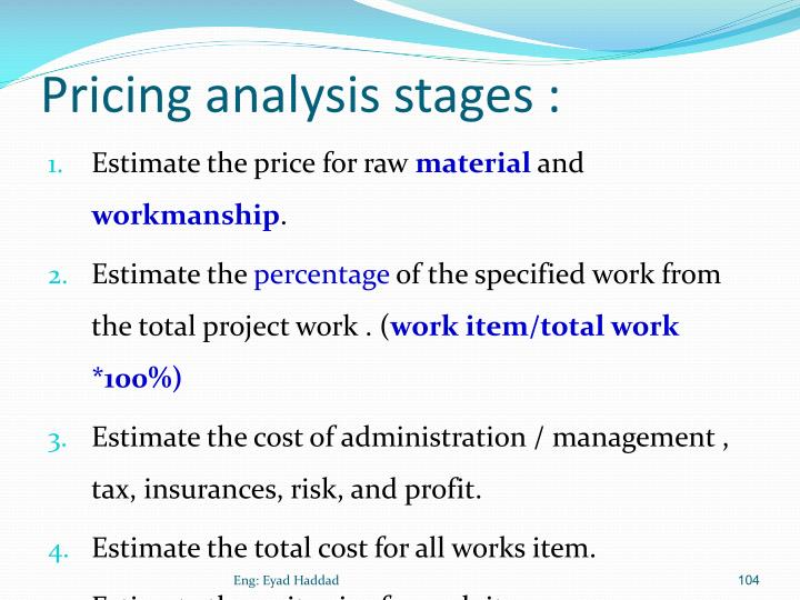 Pricing analysis stages :
