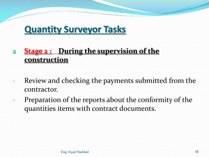 Quantity Surveyor Tasks