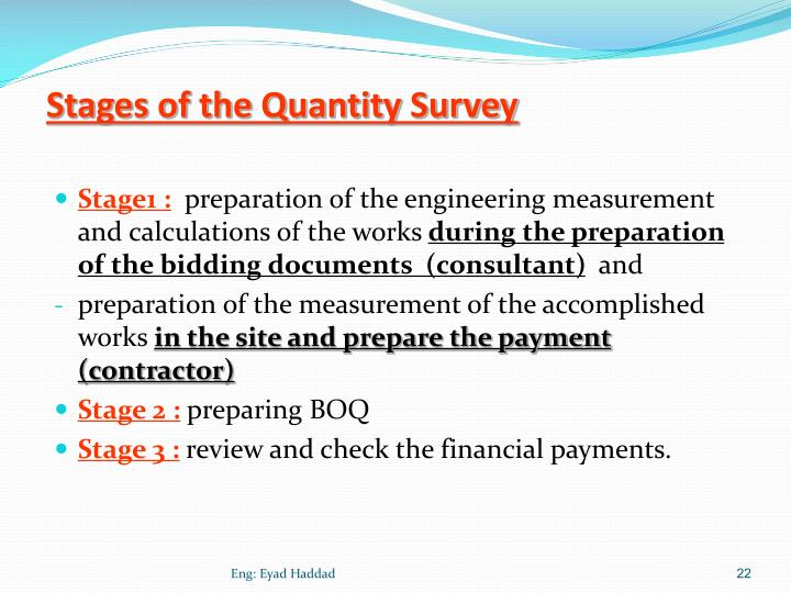Stages of the Quantity Survey
