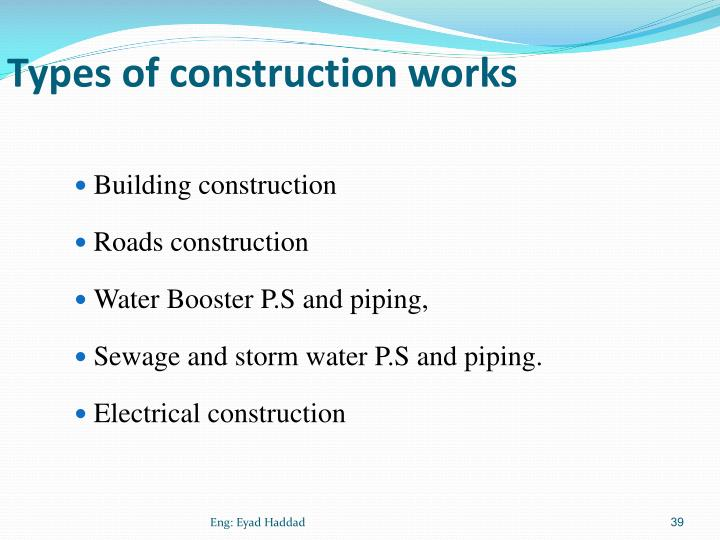 Types of construction works