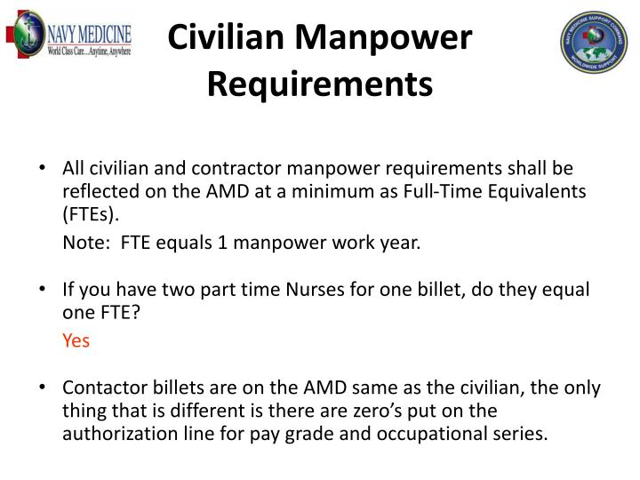 Civilian Manpower Requirements