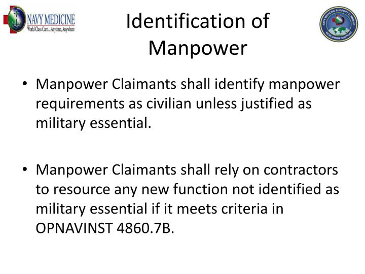 Identification of Manpower