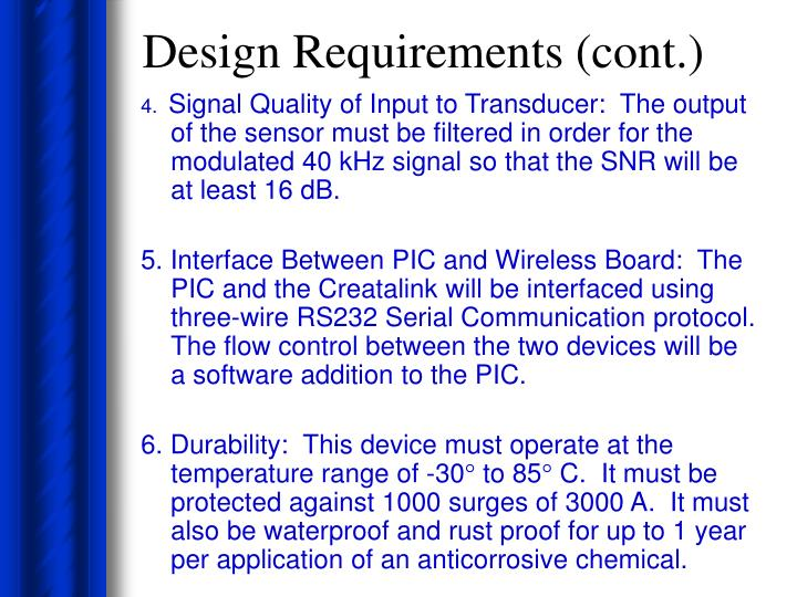Design Requirements (cont.)