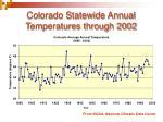 colorado statewide annual temperatures through 2002