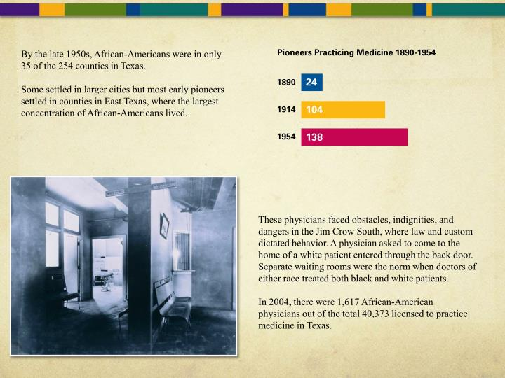 By the late 1950s, African-Americans were in only 35 of the 254 counties in Texas.