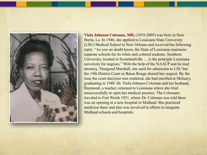 Viola Johnson Coleman, MD,
