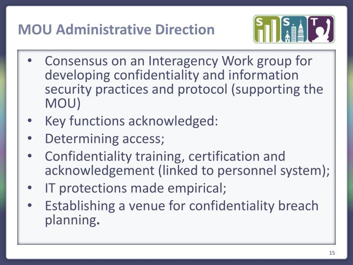 MOU Administrative Direction
