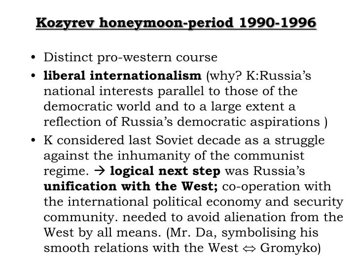 Kozyrev honeymoon-period