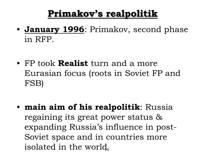 Primakov's realpolitik