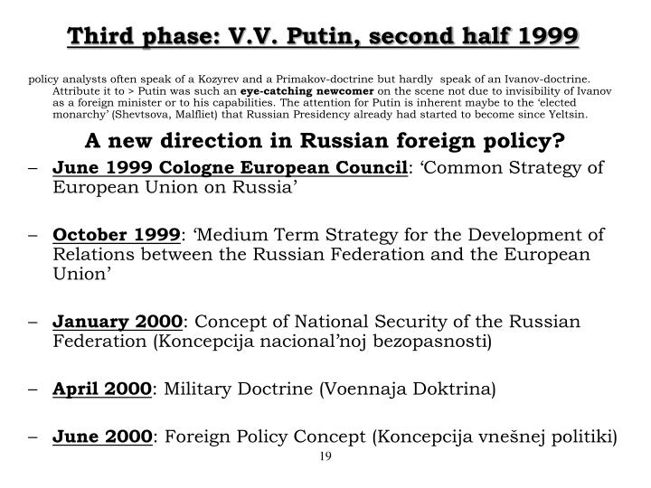 Third phase: V.V. Putin, second half 1999
