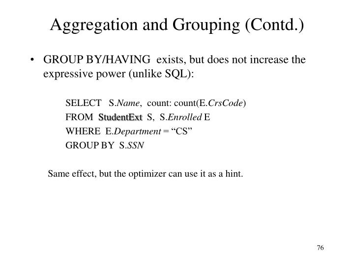 Aggregation and Grouping (Contd.)