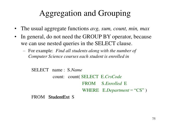 Aggregation and Grouping