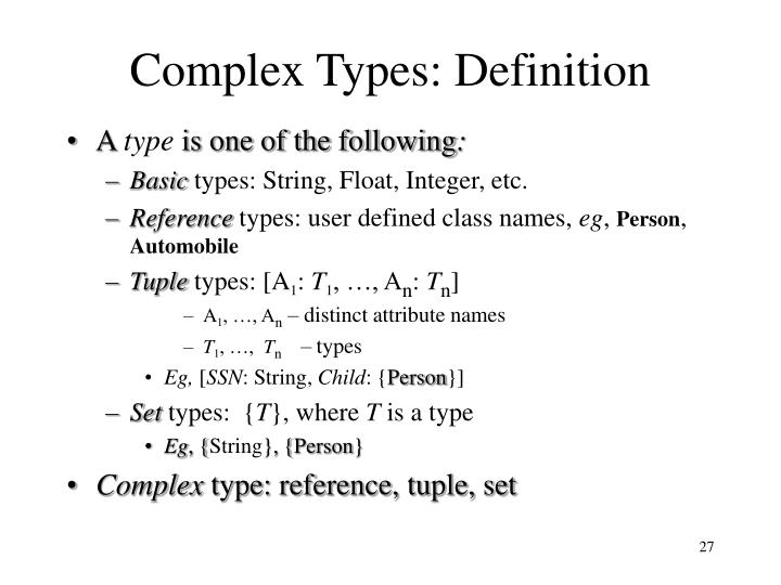 Complex Types: Definition