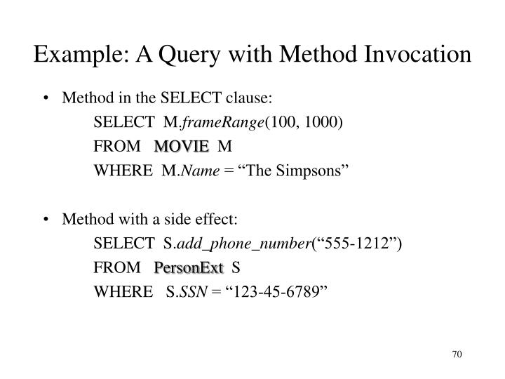 Example: A Query with Method Invocation