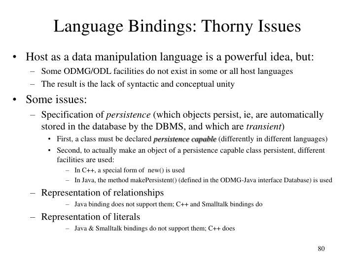 Language Bindings: Thorny Issues