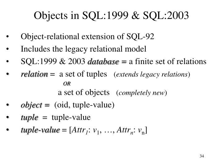 Objects in SQL:1999 & SQL:2003