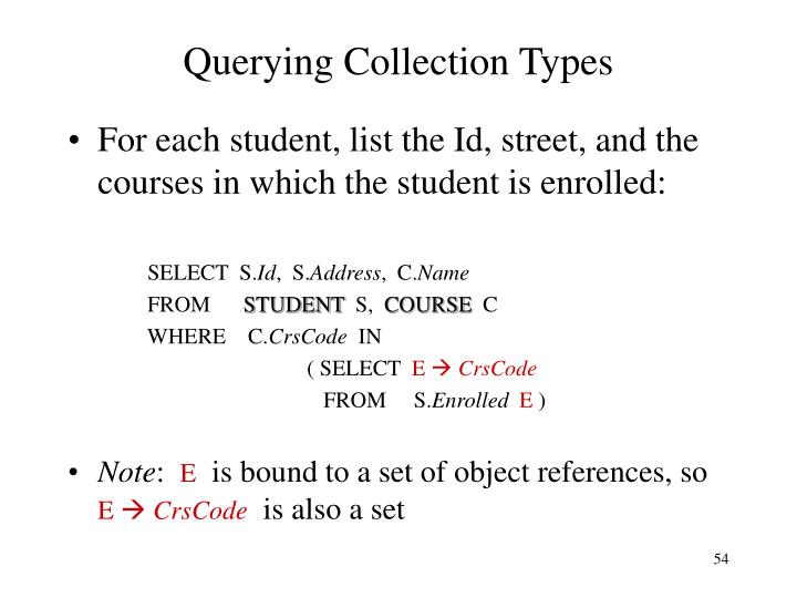Querying Collection Types