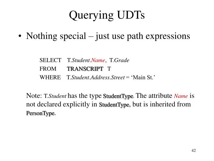 Querying UDTs
