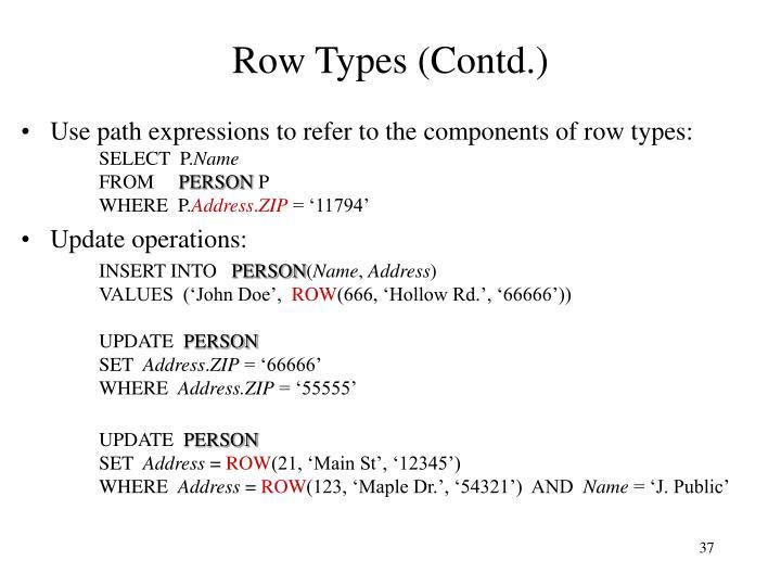 Row Types (Contd.)