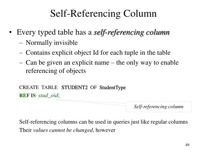 Self-Referencing Column