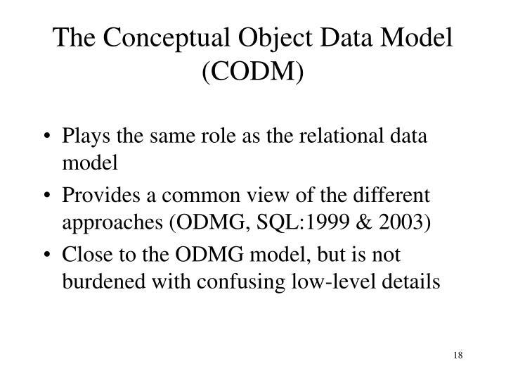 The Conceptual Object Data Model (CODM)