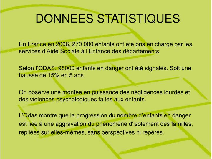 Donnees statistiques