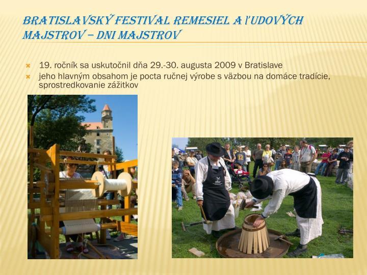 Bratislavský festival remesiel a ľudových majstrov – Dni majstrov