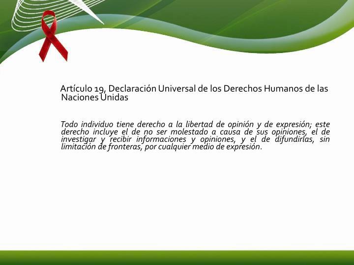 Artículo 19, Declaración Universal de los Derechos Humanos de las Naciones Unidas