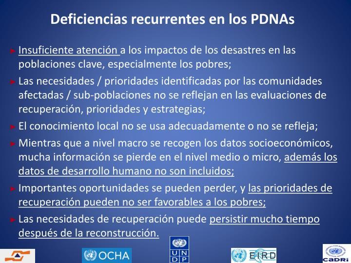 Deficiencias recurrentes en los PDNAs