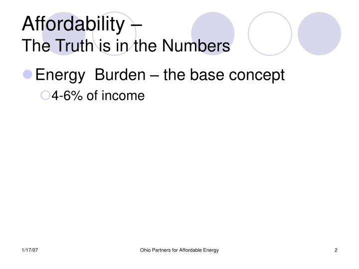 Affordability the truth is in the numbers