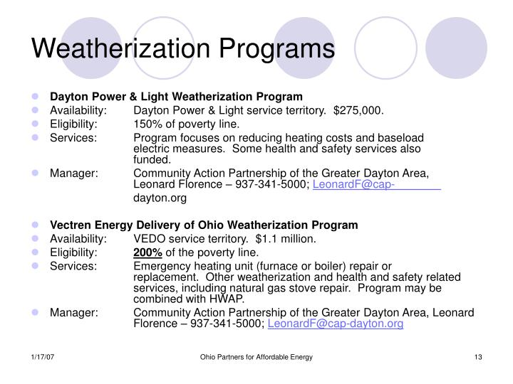 Weatherization Programs