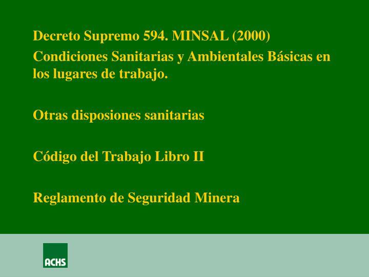 Decreto Supremo 594. MINSAL (2000)