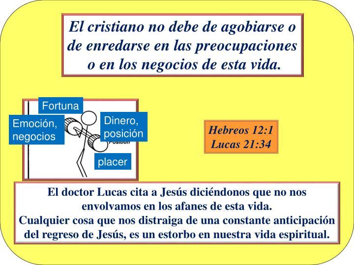 El cristiano no debe de agobiarse o