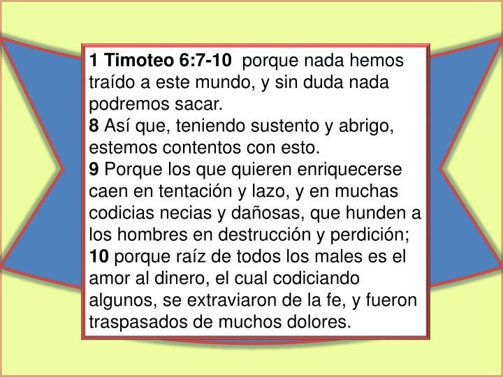 1 Timoteo 6:7-10